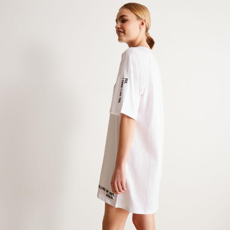 Camiseta larga motivos mood corazones - blanca;