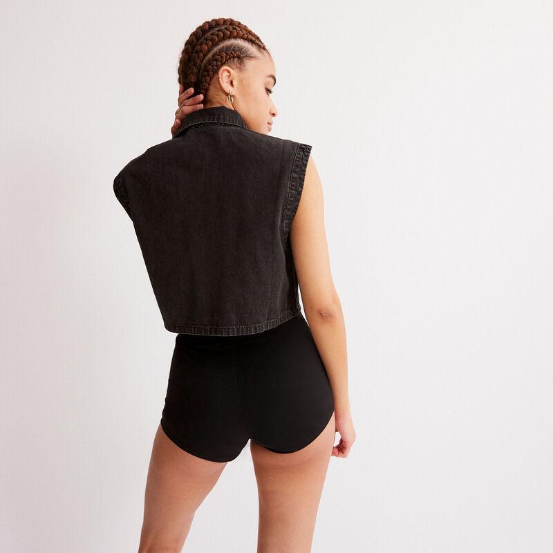 shorts con cintura elástica - negro;