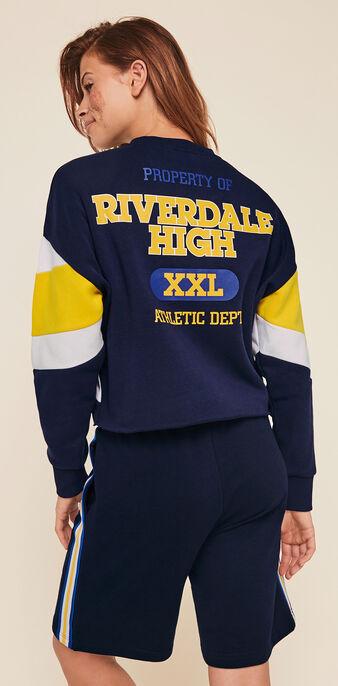 Sudadera con cuello redondo y licencia riverdale riverdaliz azul marino.