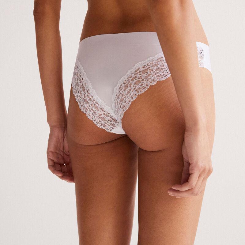 Braguita culotte con encaje atrás - blanco;