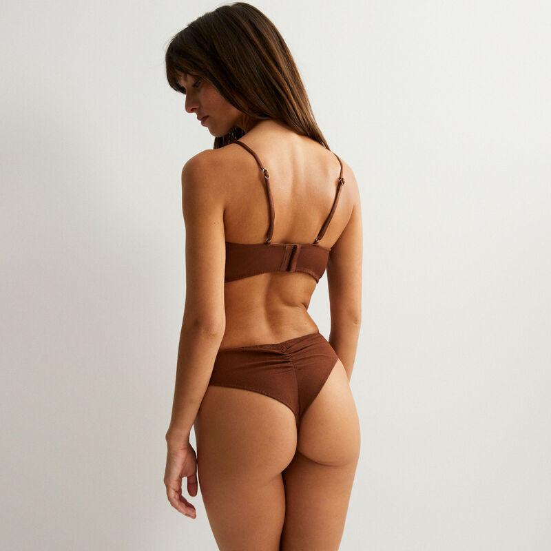 sujetador de satén con detalle de perla - marrón;