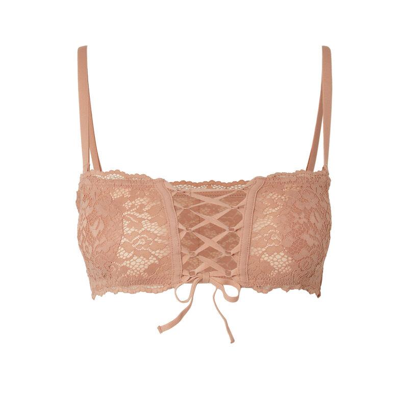 sujetador bandeau sin aros efecto corsé - beige nude;