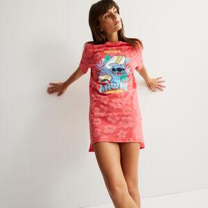 Camiseta larga con motivos tropicales Stitch - coral