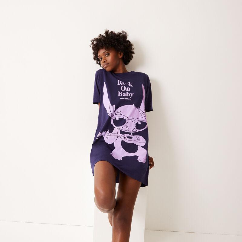 camiseta larga con estampado de stitch - azul ;