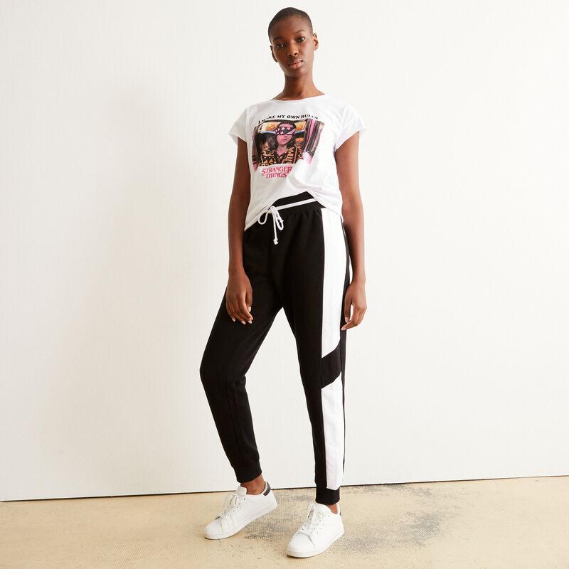 Pantalón con cordón y bandas blancas - negro;