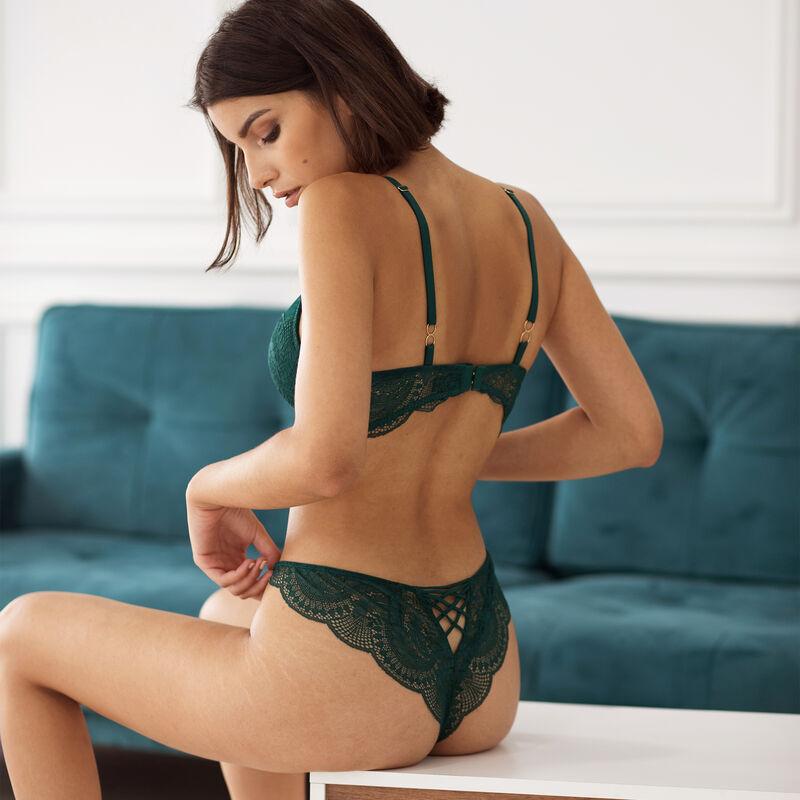 braguita brasileña de encaje con cintas - verde;