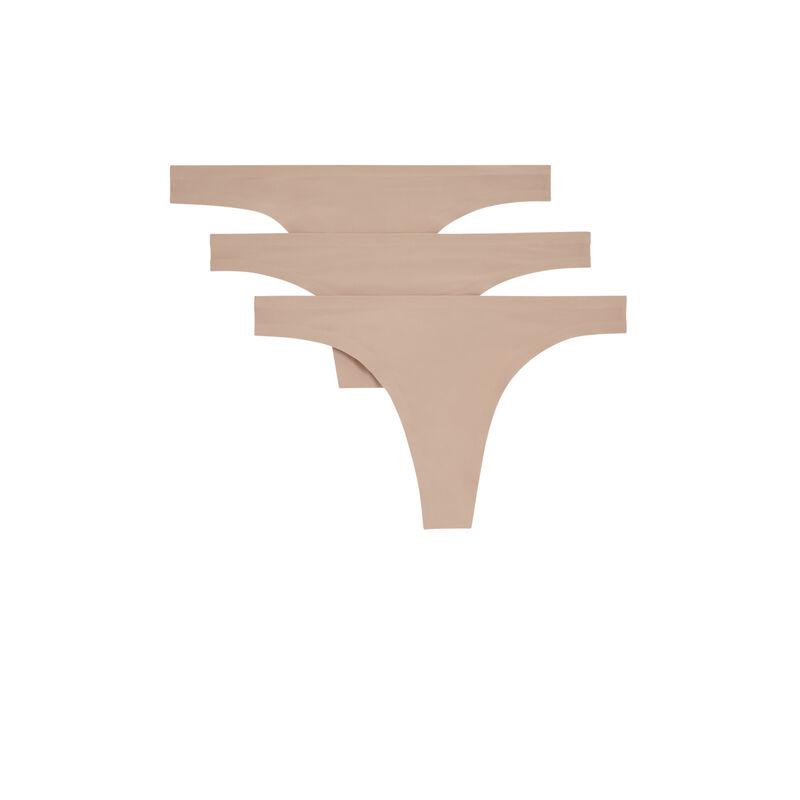 Juego de braguitas tanga de microfibra - nude;