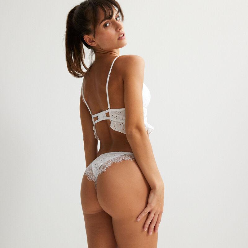braguita con efecto bikini con bordados ingleses - blanco;