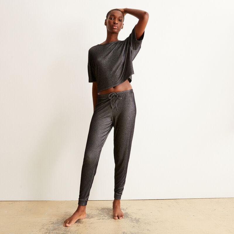 Pantalón acanalado - negro;