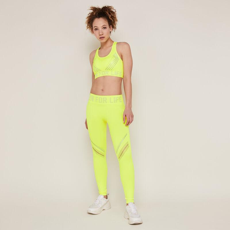 Leggings deportivos lisos amarillo fluorescente;