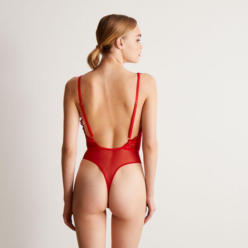 Body de encaje con corazón y detalle en la cintura - rojo;