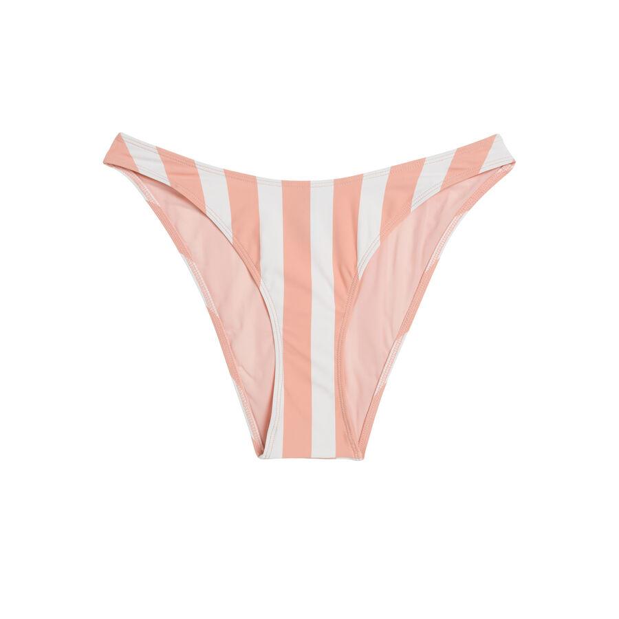 Parte de abajo de bikini rayiz rosa y blanca;${refinementColor}