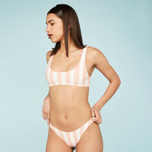 Parte de abajo de bikini rayiz rosa y blanca pink.