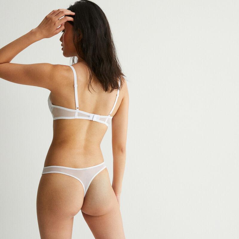 Braguita tanga de encaje con detalle de nudo - blanca;