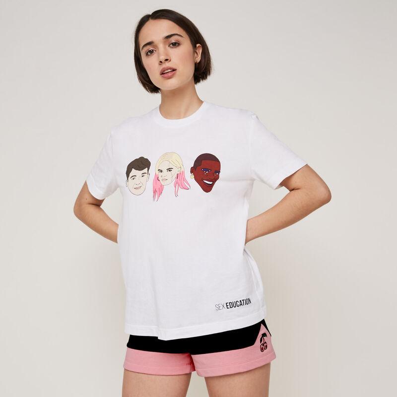 Shorts con estampado de cerezas colorblockiz;