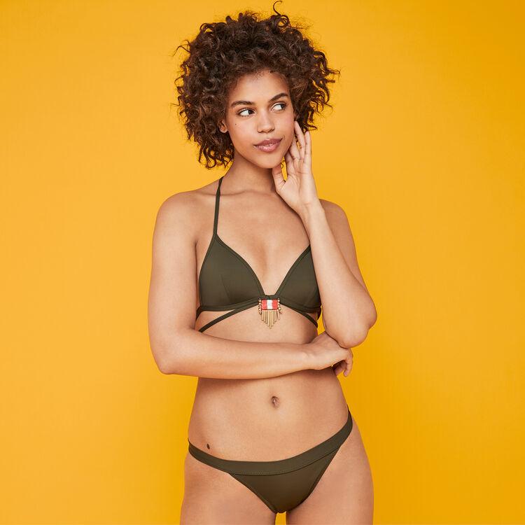 Parte de arriba de bikini triangular caqui sahariz;