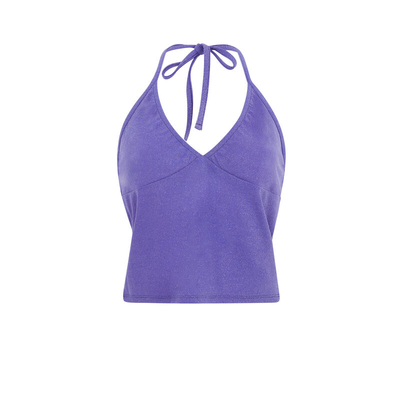 Top con espalda abierta y cierre en el cuello - violeta;