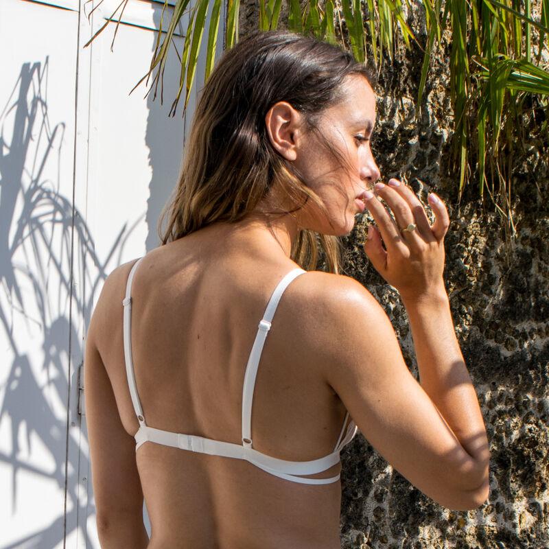Sujetador de triángulo sin aros con escote efecto tatuaje - crudo;