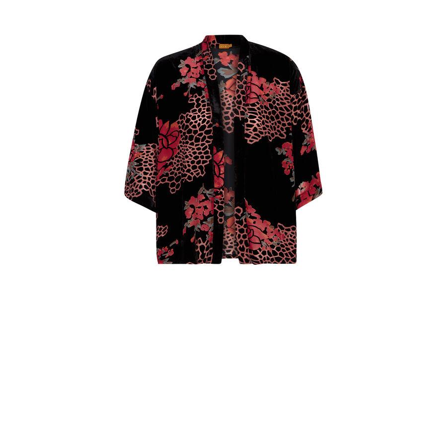 Kimono negro feuillagiz;${refinementColor}