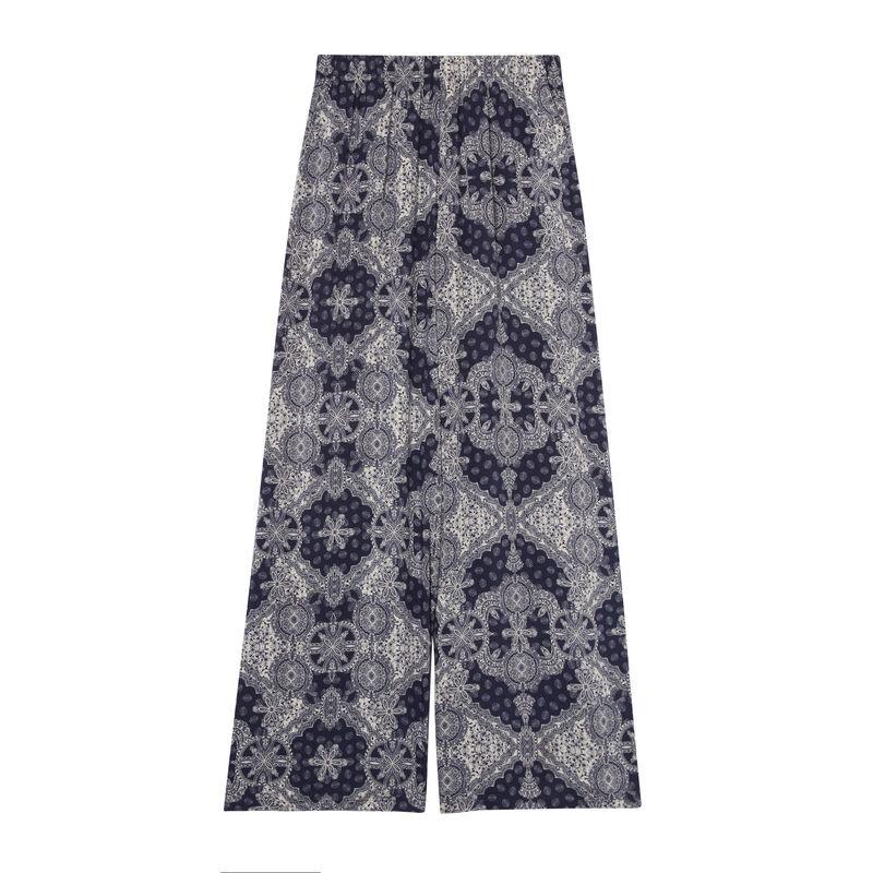 Pantalón de satén con motivos - azul;