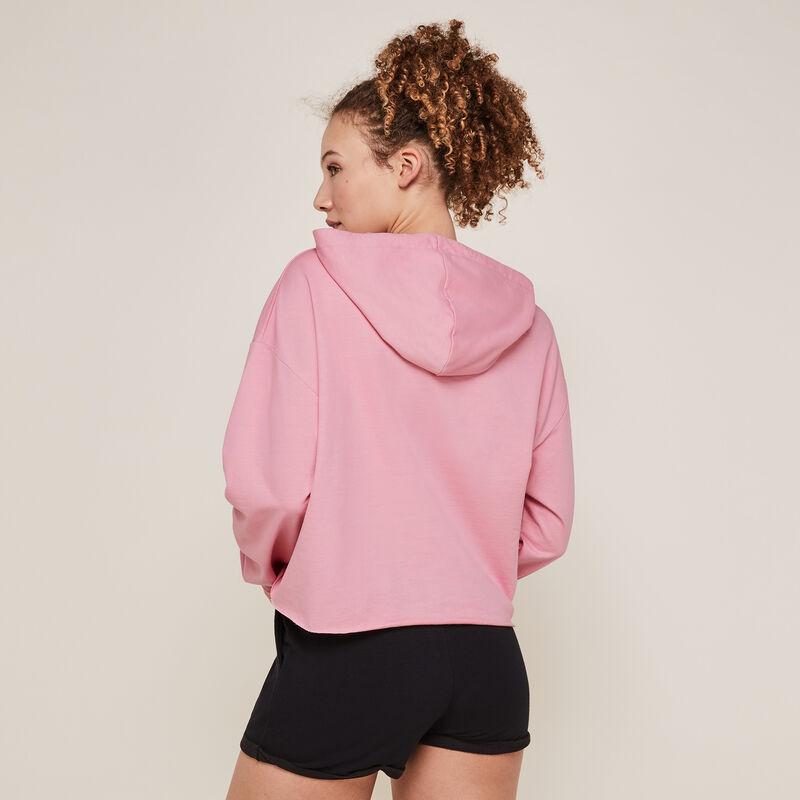 Sudadera con capucha con mensaje rosa ;