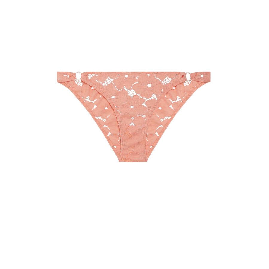 Culotte rosa salmón plumiz dentelliz;