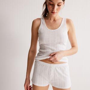 shorts lisos de punto con puntitos - blanco