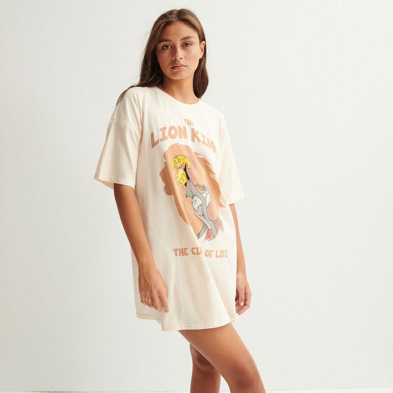 Camiseta larga del rey león - blanco roto;