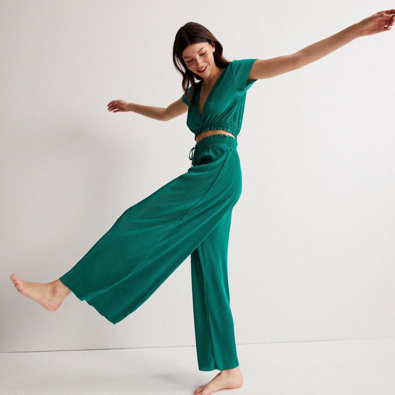 pantalón plisado con elástico fruncido - verde;