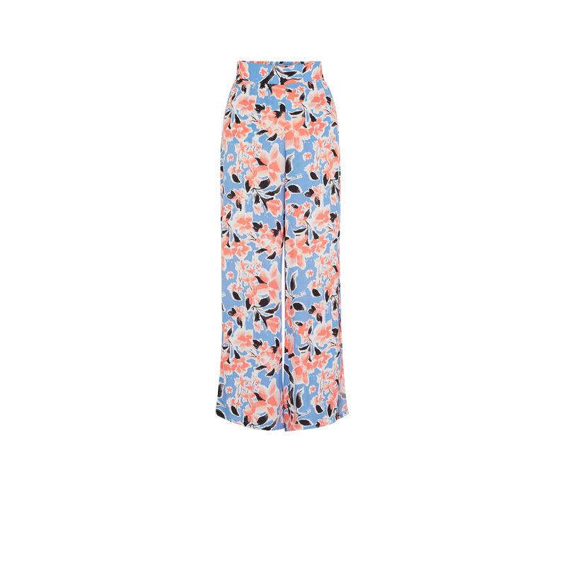 Pantalón ancho con estampado de flores - azul;