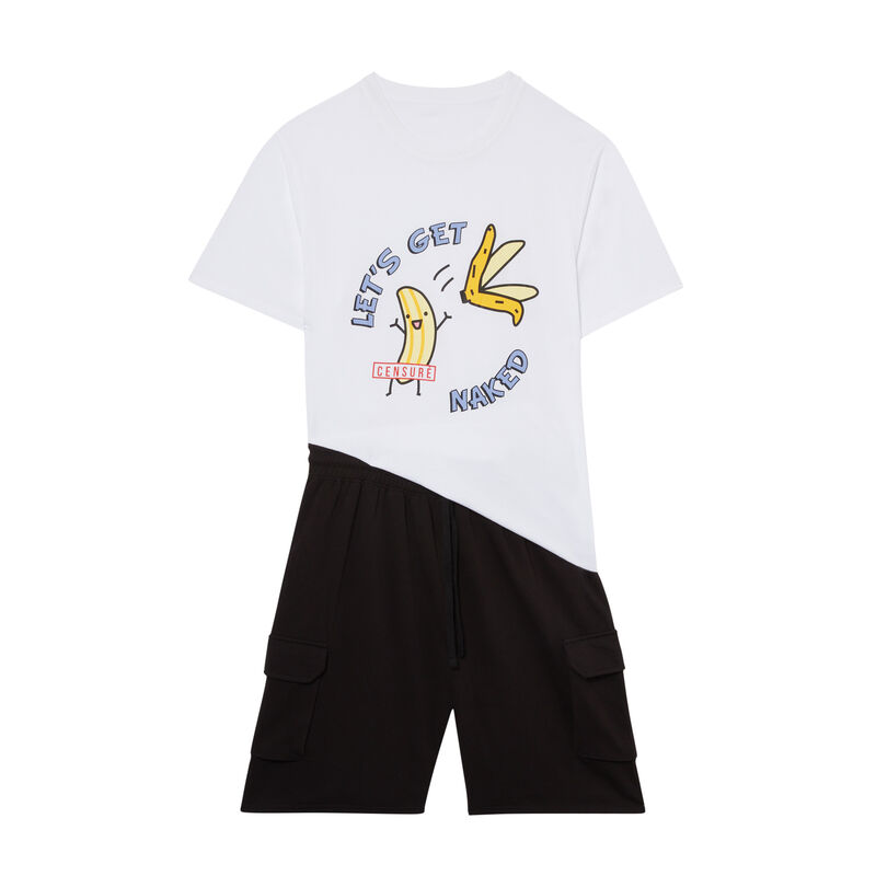 Conjunto de pijama con estampado de plátano - blanco;