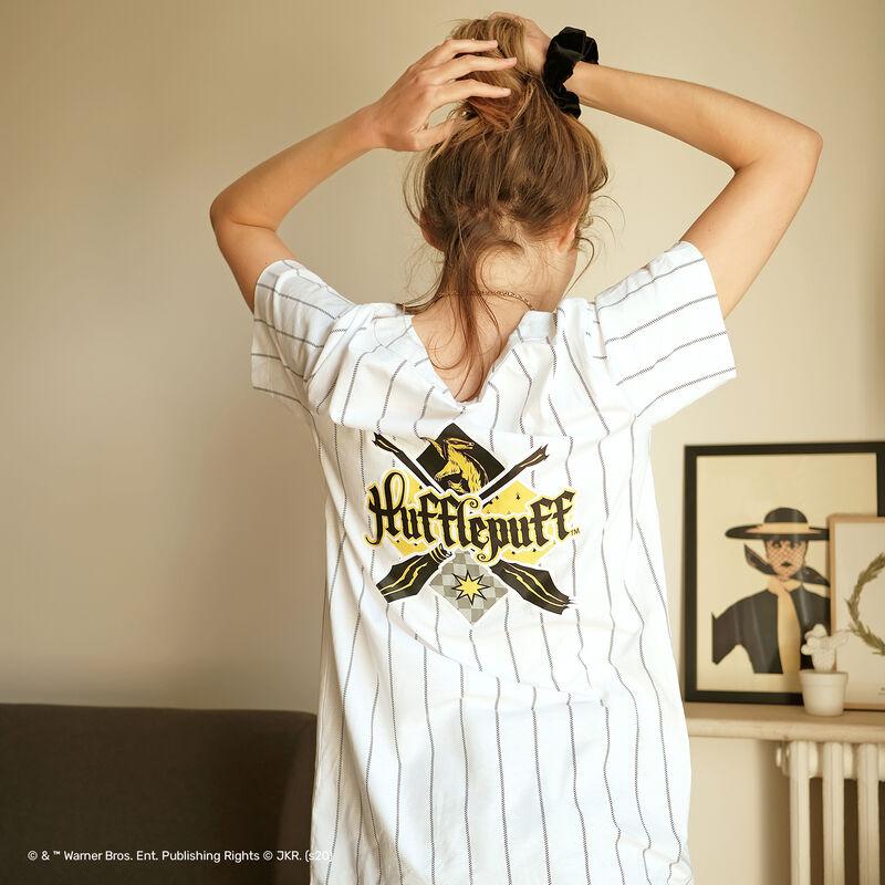 camiseta larga a rayas Hufflepuff - blanco;