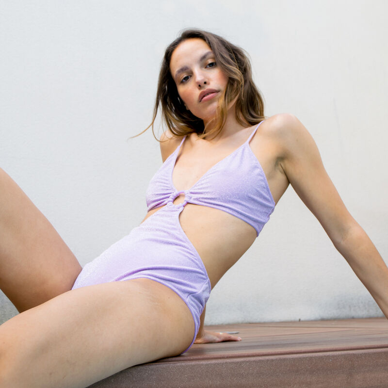bañador de 1 pieza trikini con anilla - lila;