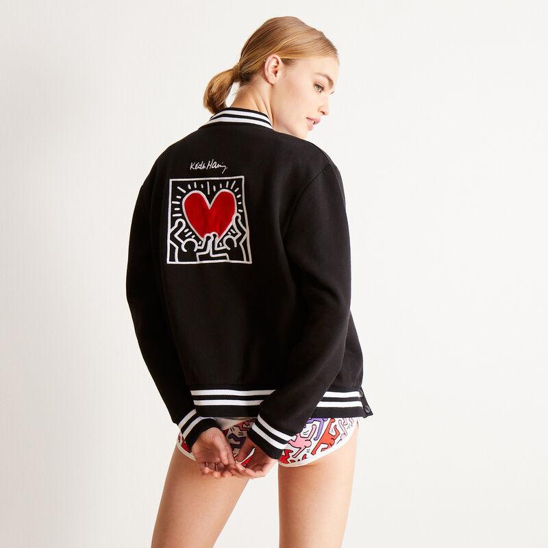top con estampado de corazones Keith Haring - negro;