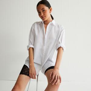 camisa de manga larga efecto boyfriend - blanca