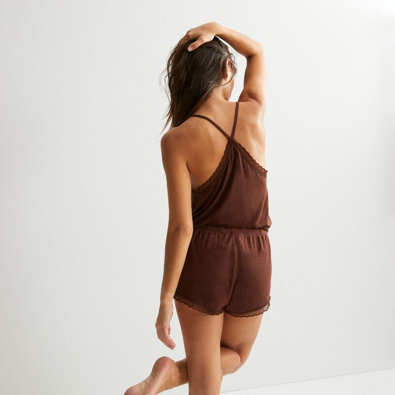Pantalón corto liso de punto - marrón;