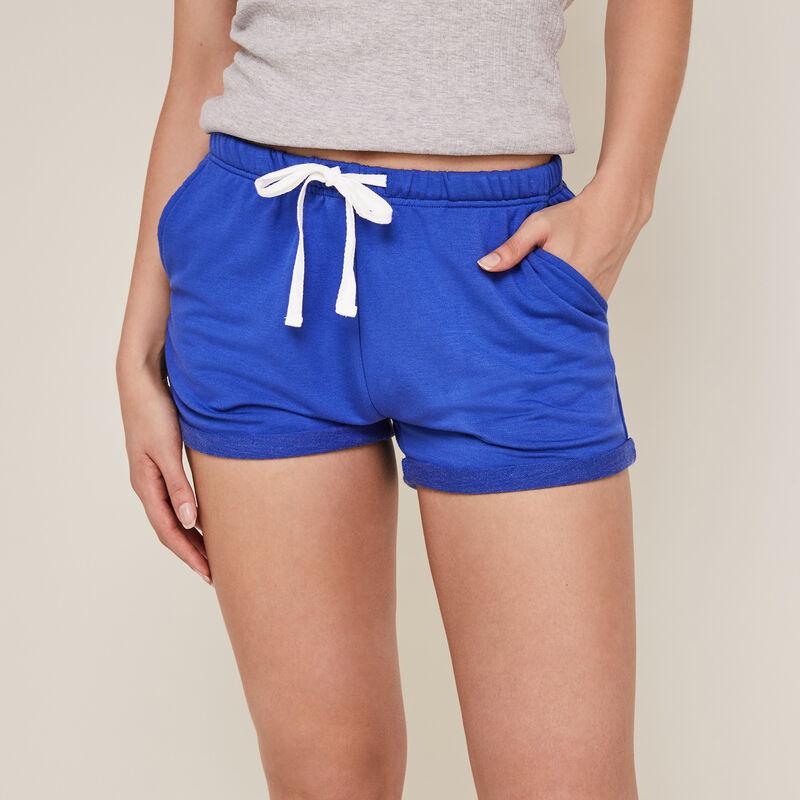 Short liso de muletón azul ;