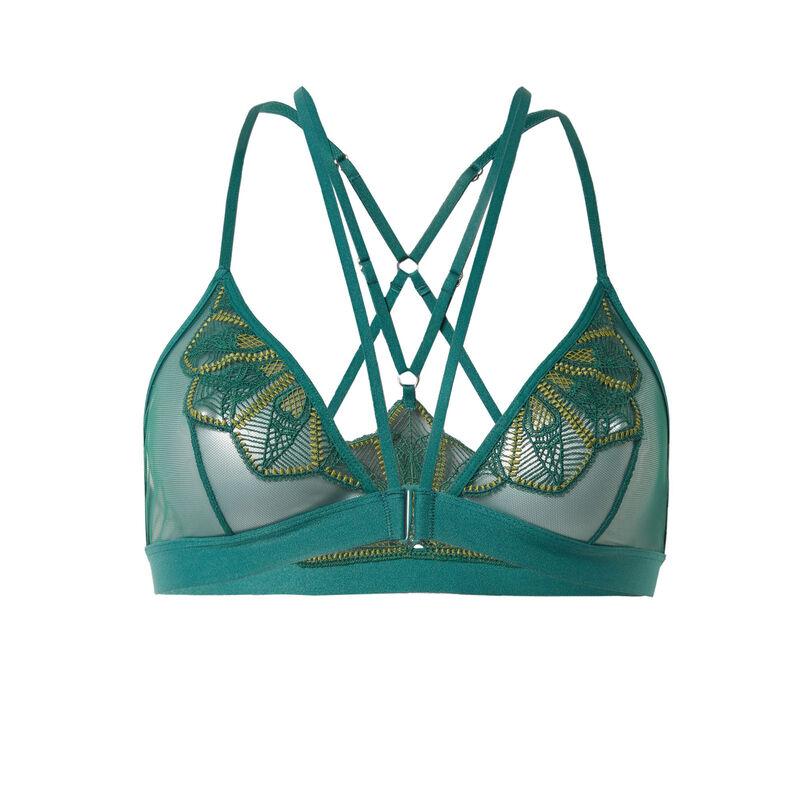 sujetador triángulo de guipur con cintas en la espalda - abeto;