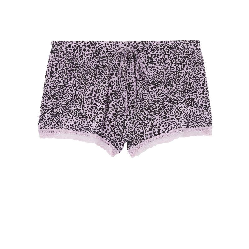 shorts con estampado de leopardo de punto - lila;