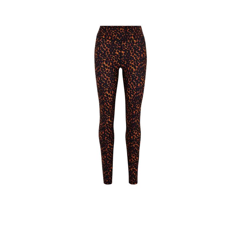 Leggings con estampado de leopardo - naranja;