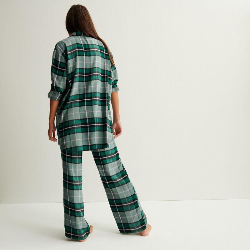 pantalón de cuadros de cintura amplia fruncida y anudada - verde pino;