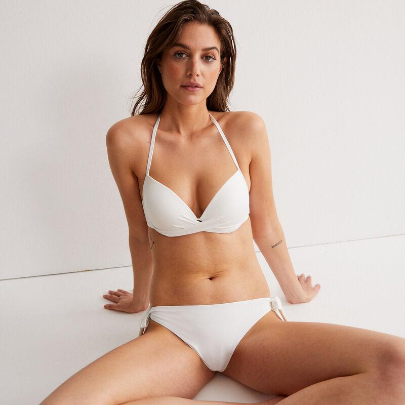 Parte de arriba de bikini push-up con espalda desnuda y escote girado - crudo;