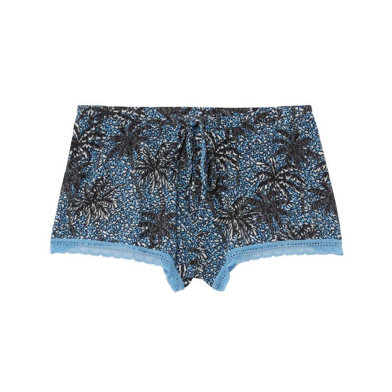 Shorts de punto con motivos de palmera - azul;