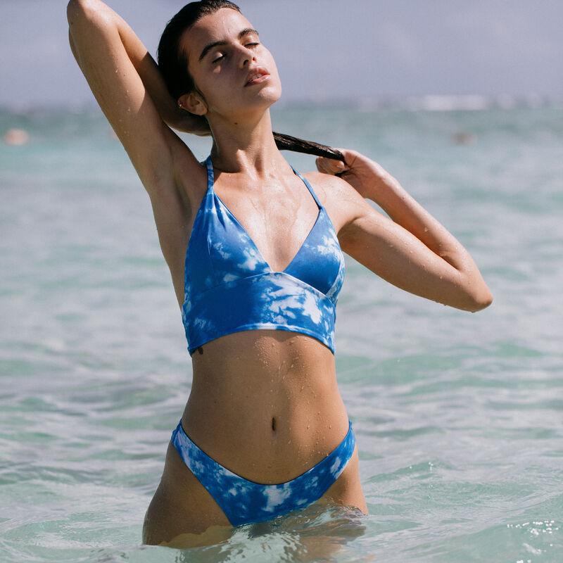 Parte de arriba de bikini de triángulo de aumento motivo tie and dye - azul;