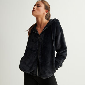 chaqueta de fibra polar con cremallera de anillo y capucha - negro