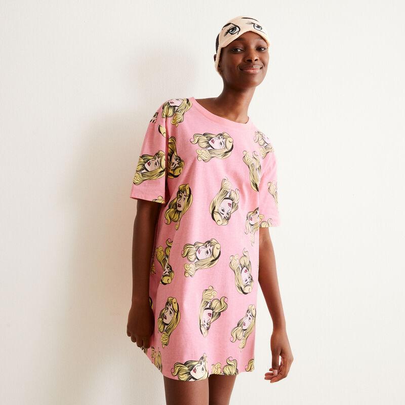 juego de pijama camiseta larga y antifaz de la Bella duermiente - rosa;