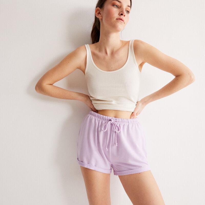 shorts lisos con detalle de cordón - lila;