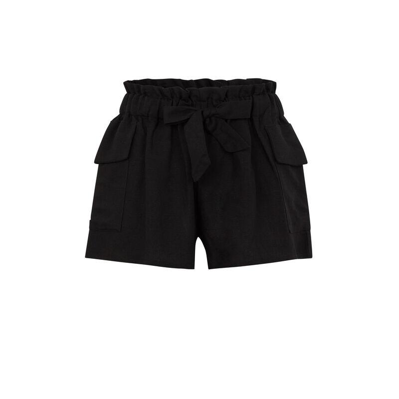Short con cinturón liso - negro;