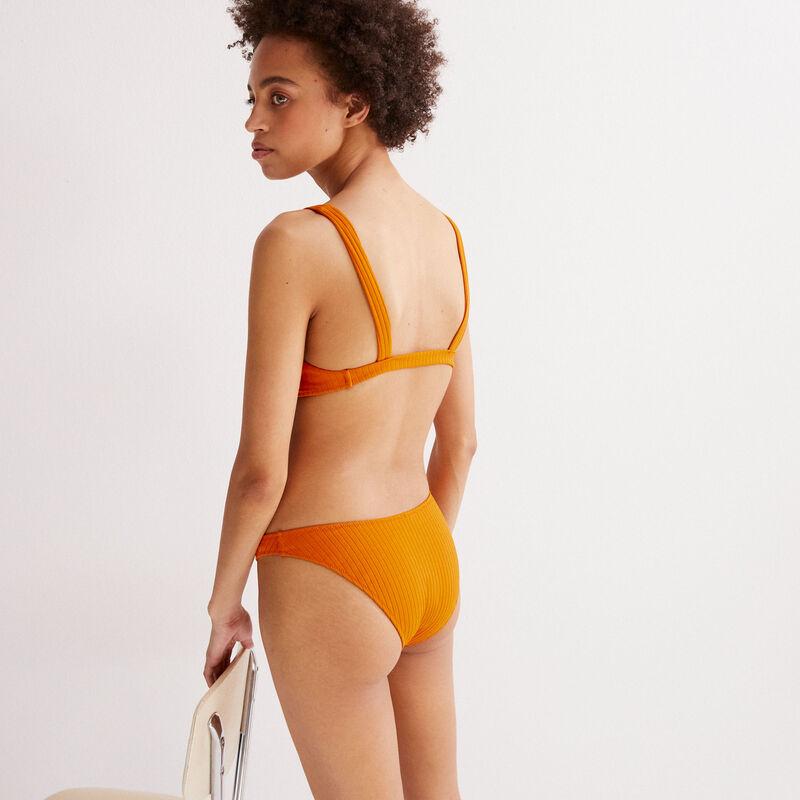 parte de abajo de bikini braguita con estampado hawaiano - naranja;