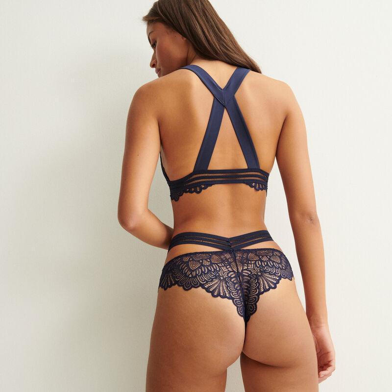 sujetador de triángulo con tirantes cruzados en la espalda - azul marino;